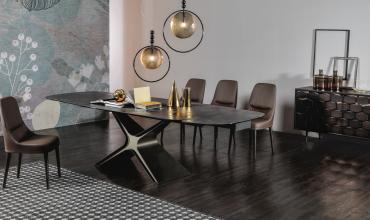 Table design en céramique ou grès porcelaine modèle calliope