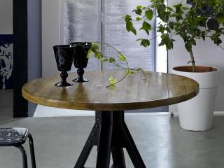 Table industrie ronde pied Factory