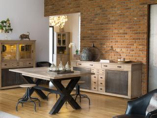 Table industrie et chêne massif ou céramique  avec allonges