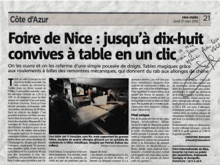 NICE-MATIN a vu nos TABLES !!