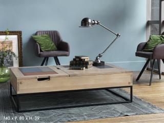 Table basse relevable dessus métal.  L 140 x P 80 x H39. Prix indicatif 2048€ + ecotaxe 3€