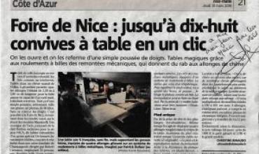 Nice-Matin a vu nos tables en chêne massif et parle de nous !