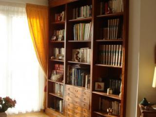 Cette bibliotheque est réalisé de mur à mur et de sol au plafond. En style Charles X  le pilastre avant droit dépasse du mur.