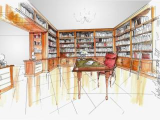 Dessin et plan métré de la future bibliothèque