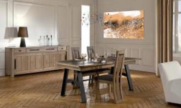 Salle à manger Descartes en chêne massif et style contemporain et industriel