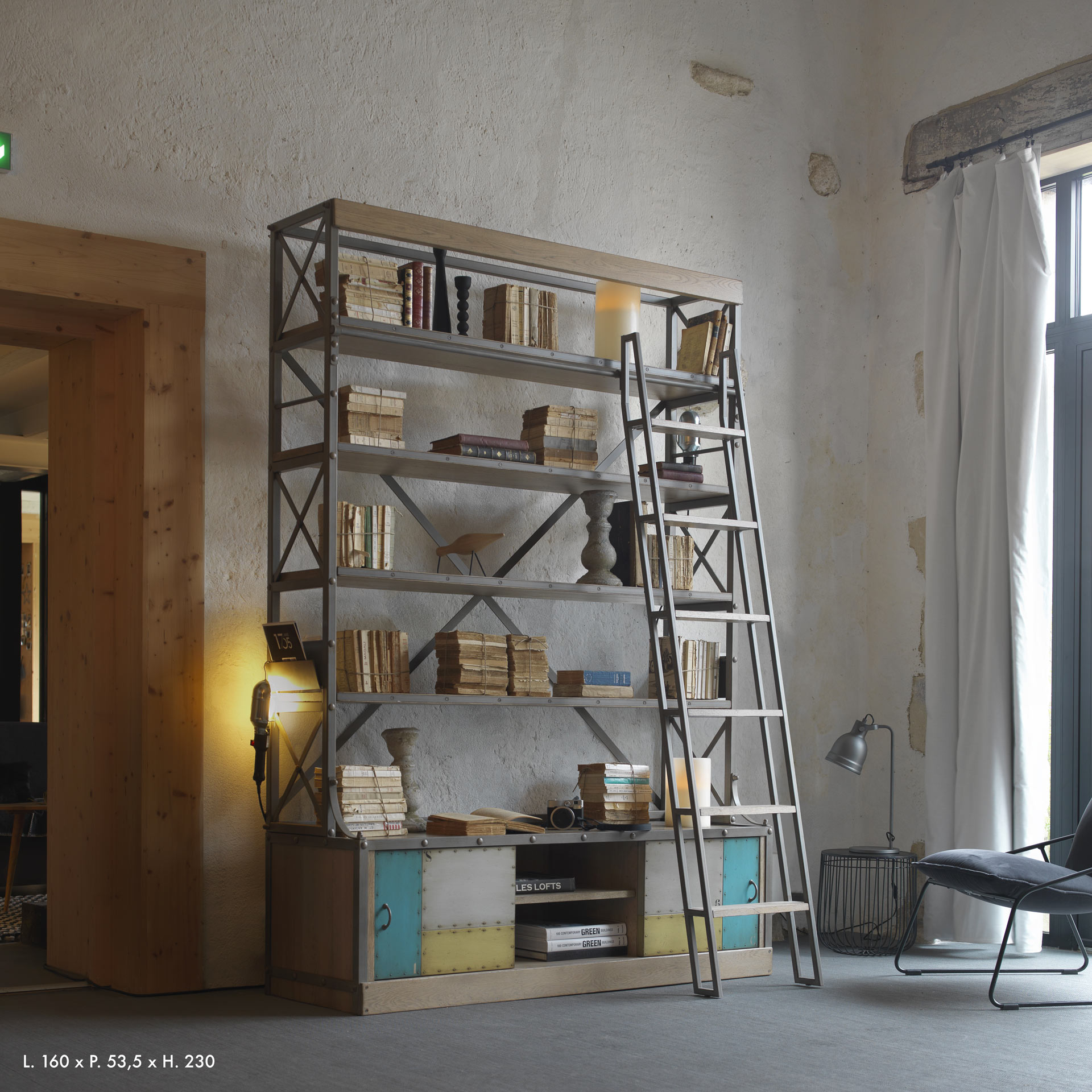 nos biblioth ques sur mesure style industriel en ch ne massif trets 13. Black Bedroom Furniture Sets. Home Design Ideas