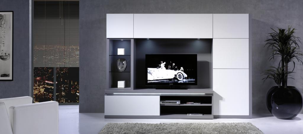 Meuble tv biblioth que composable contemporain equinox - Bibliotheque de bureau contemporain ...