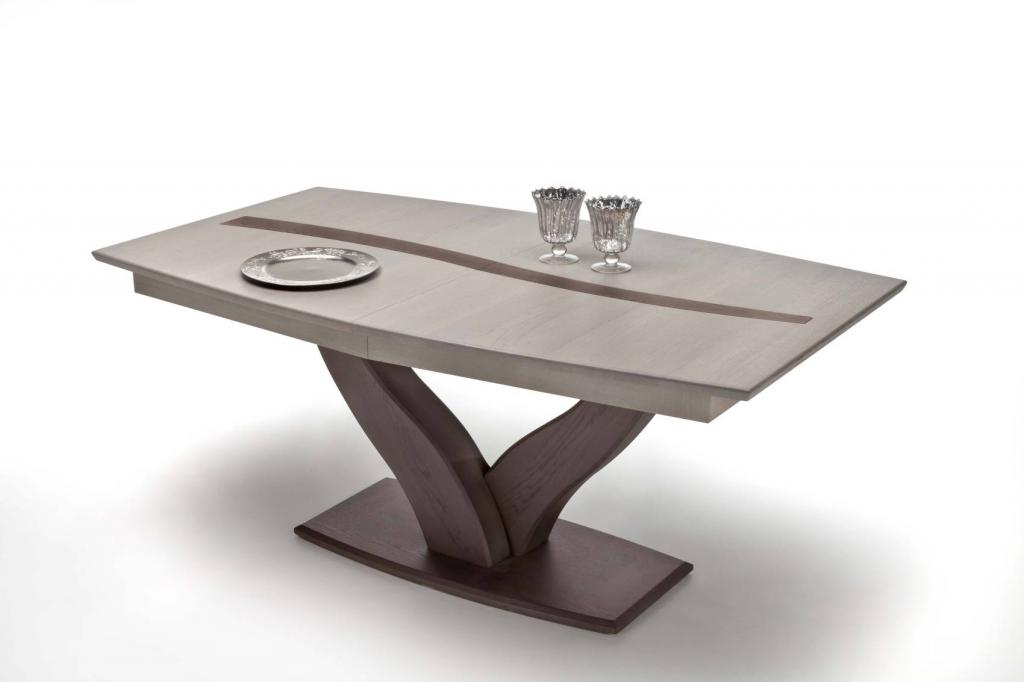table tonneau pied central y dimension l180 p105 h77 1 allonge de srie possibilit salle manger contemporaine mditerrane